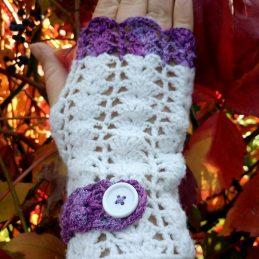 ръкавици без пръсти плетени Теменужени 4 - Marchella's Art