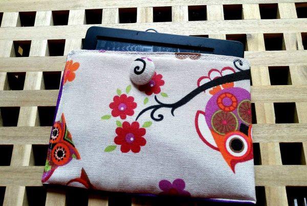 калъфче за електронна книга от памучен плат Бухали
