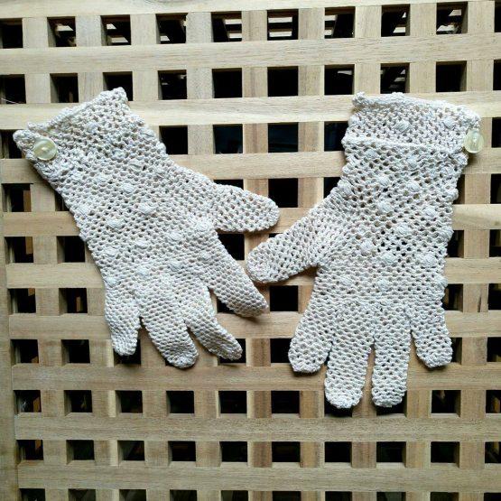 """Дантелени ръкавици на една кука """"Pregata"""" с пръти, бели"""