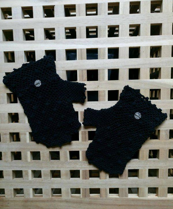 ръкавици без пръсти, черни, с орнаменти