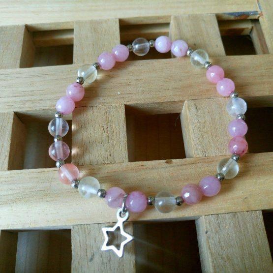 дамска гривна звезда с планински кистал и розов кварц
