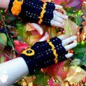 плетени ръкавици без пръсти Хелоуин в черно с оранжев кант и оранжево цветенце