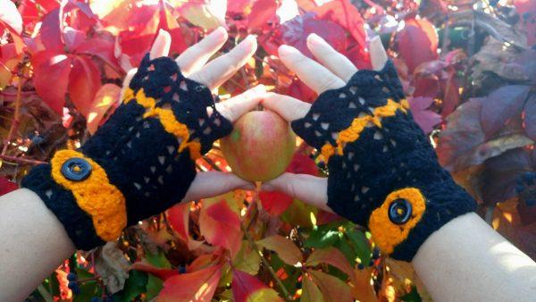 """плетени ръкавици без пръсти """"Хелоуин"""""""