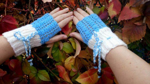 ръкавици ръчна изработкабез пръсти Сняг - Marchella's Art