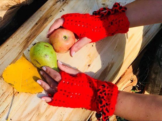 Ръчноплетени зимни ръкавици, без пръсти, червени