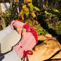 Розовки зимни плетени ръкавици без пръсти подходящи за повечето размери дамски ръце