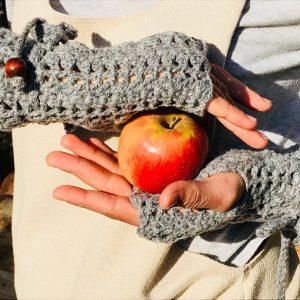 Плетени ръкавици без пръсти, сиви, ръчна изработка