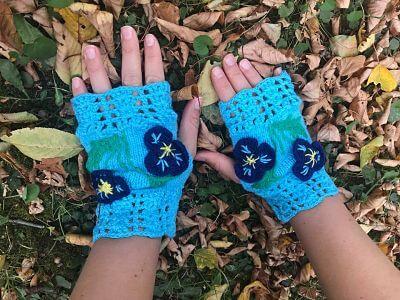 дамски зимни ръкавици тюркоаз
