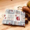 подвързия за книга Бяла Коледа - красива по цялата си дължина от вън с красиви шарки по целия плат
