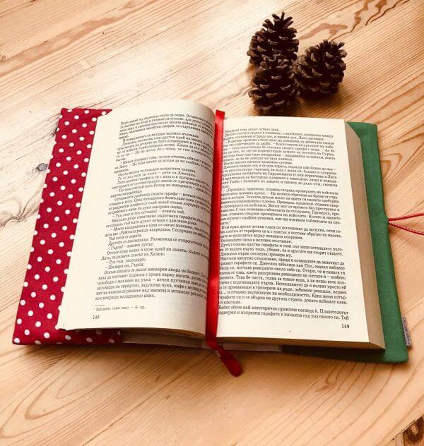 текстилна подвързия за книга с коледен мотив
