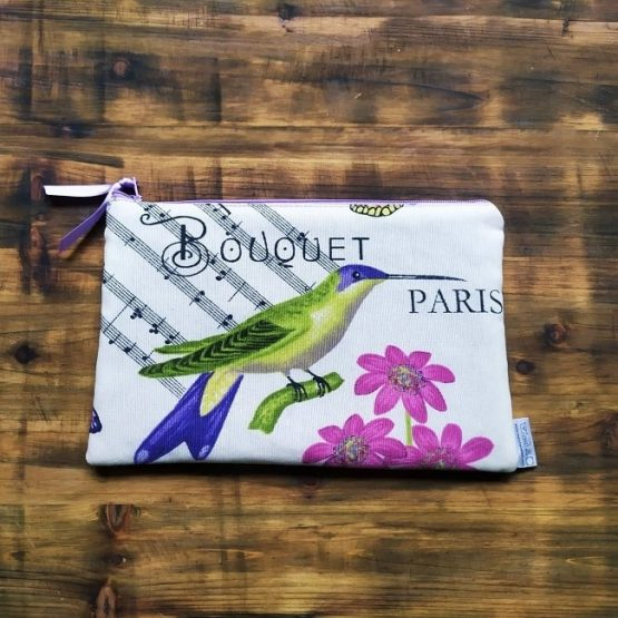 несесер за дамска чанта букет с голямо колибри
